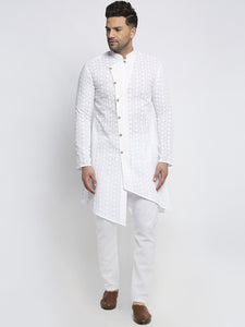 Designer Cotton Aligarh White Kurta Pajama Set For Men By Treemoda