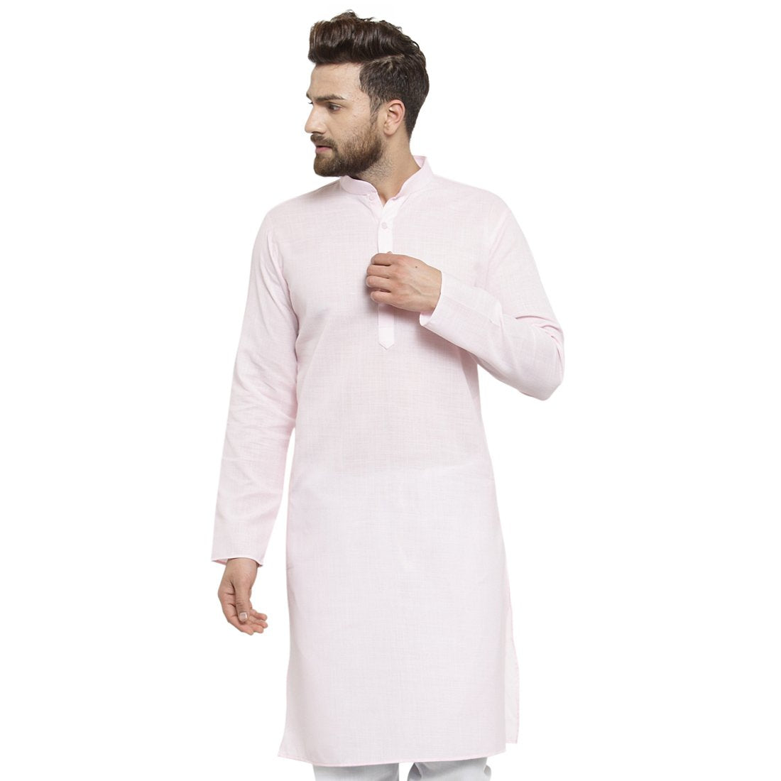 New Lenin Plain Kurta In Pink By Treemoda