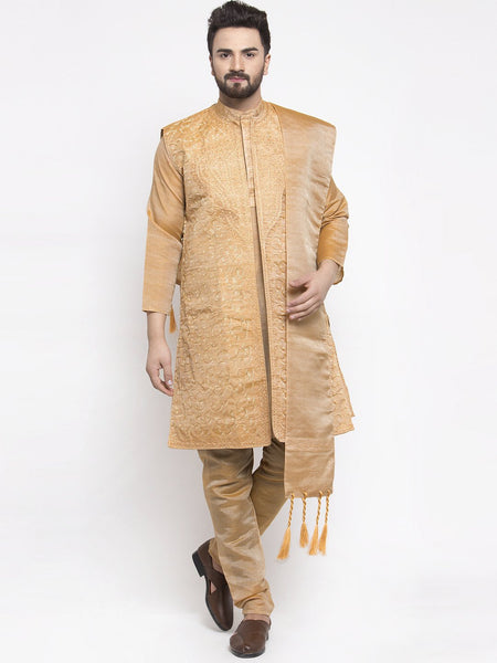 Men's Gold Embroidered Kurta Pajama Set With,Jacket, and Scarf by Treemoda