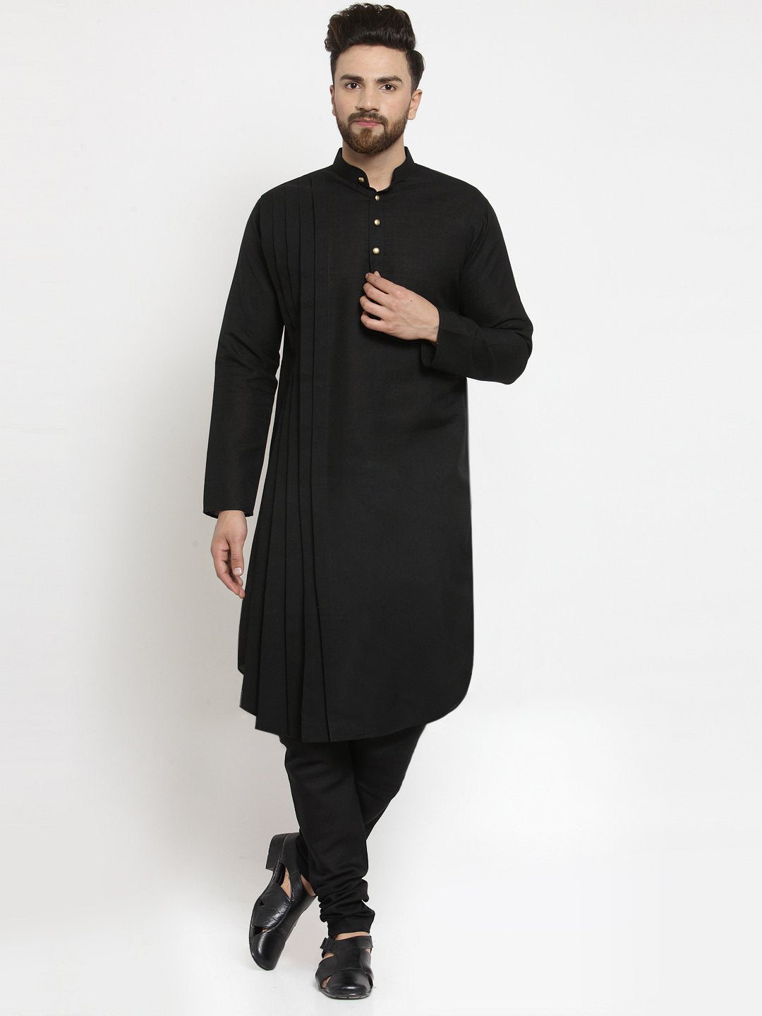 Designer Black Linen Kurta With Churidar Pajama For Men By Treemoda