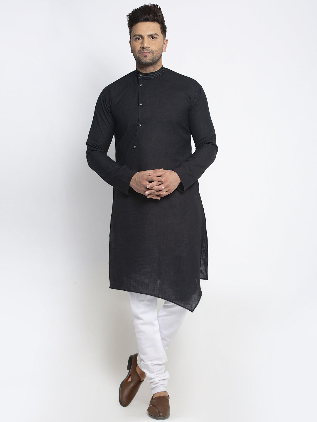 Designer Black Linen Kurta With White Churidar Pajama Set For Men By Treemoda