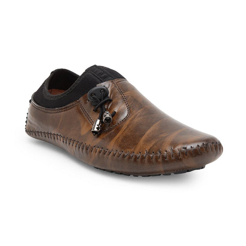 Treemoda Brown Solid Loafers For Men
