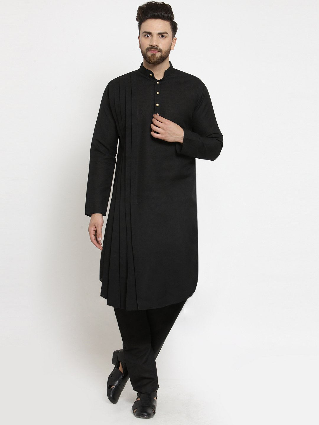 Designer Black Linen Kurta With Aligarh Pajama For Men By Treemoda
