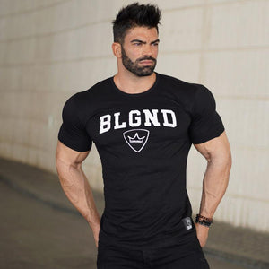 New mens  Cotton T-shirt Fashionable leisure Fitness bodybuilding Short sleeve workout male printing T-shirt tees tops