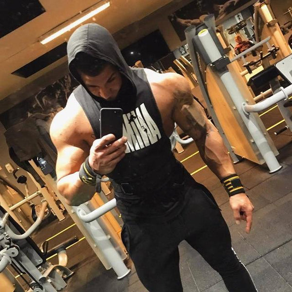 New Men Bodybuilding Cotton Tank top Gym Hoodie