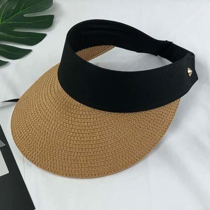 New Simple Summer Straw Sun Hat Women Pearl Back Able Sun Visor Hat with Big Heads Wide Brim UV Protection female cap