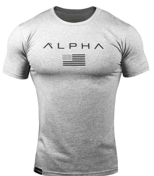 2019 tight gym T-shirt for men summer short-sleeved casual sports plain print T-shirt O collar simple comfort T-shirt
