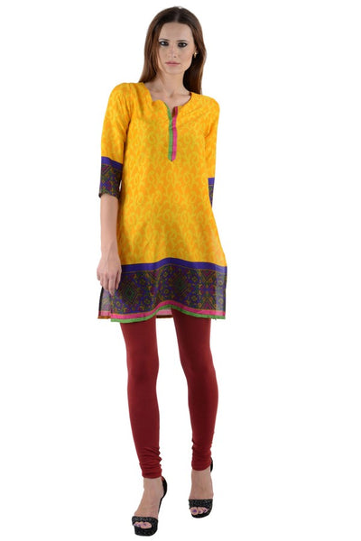Women Solid Straight Kurta (Yellow)