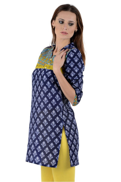 Women Solid Straight Short Kurta (Dark Blue)