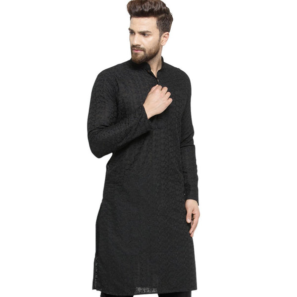 Black Cotton Chikankari Lucknowi Jaal Embroidered Kurta By Treemoda