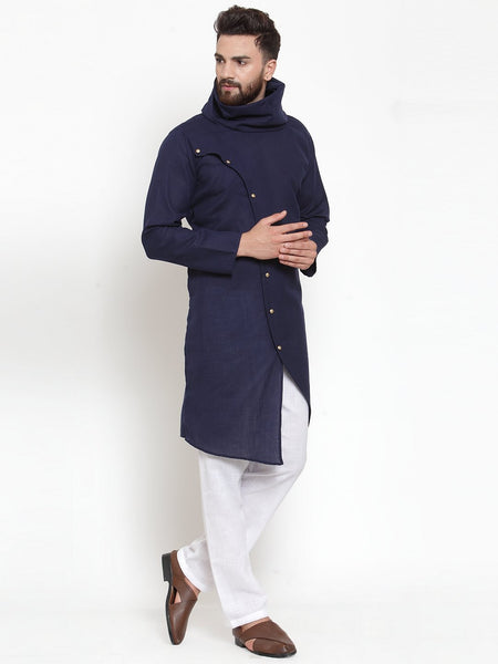 Navy Blue Kurta With Aligarh Pajama in Linen For Men by Treemoda