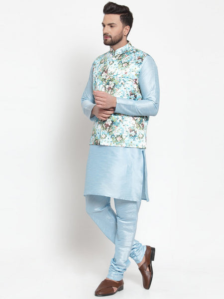 Treemoda Men's Turquoise blue Kurta Matching Pants With Ethnic Nehru Jacket