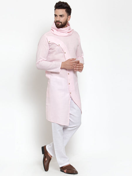 Pink Kurta and Pajama for men | Designer Full Sleeve Linen Kurta and White Aligarh Pajama Set For Men