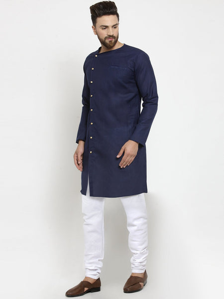 Navy Blue Kurta and Pajama for men | Designer Full Sleeve Linen Kurta and White Churidar Pajama Set For Men