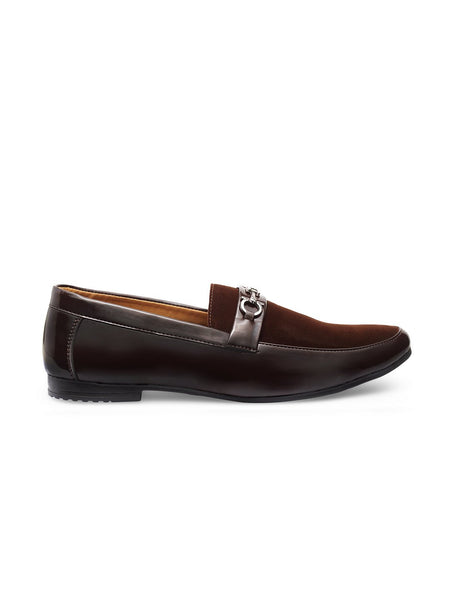 Treemoda Brown Leather Semi Formal Loafers For Men