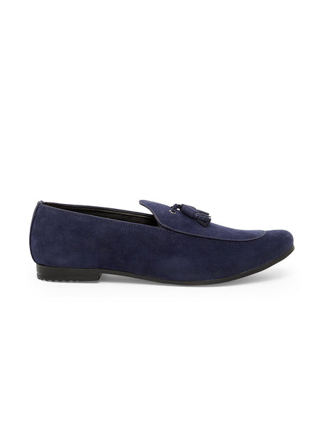Treemoda Navy Blue Suede Tassel Loafers For Men