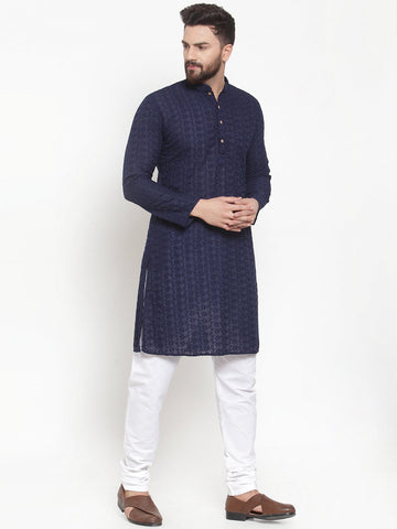 Navy Blue Cotton Chikankari Lucknowi Jaal Embroidered Kurta with Churidar Pajama