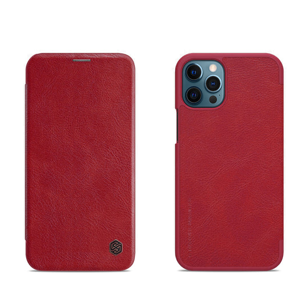 iPhone 12 ProMax Cherry Red Leather Mobile Case (Flip Cover)
