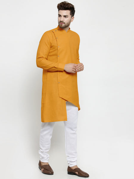 Designer Mustard Yellow Linen Kurta With White Churidar Pajama For Men By Treemoda