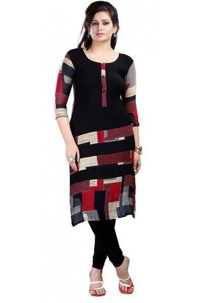 Women Printed Poly Crepe Straight Kurti (BlackRed)