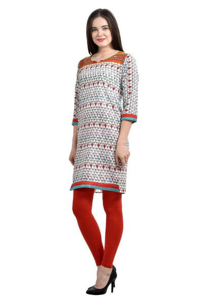 Women Solid Straight Long Kurta(white and Red)