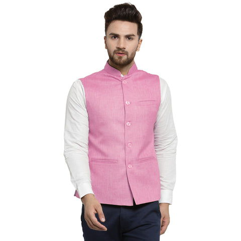 Treemoda Baby Pink Nehru jacket For Men Stylish Latest Design Suitable for Ethnic Wear/Wedding Wear/ Formal Wear/Casual Wear