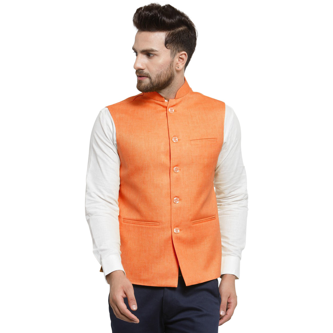 Treemoda Orange Tango Nehru jacket For Men Stylish Latest Design Suitable for Ethnic Wear/Wedding Wear/ Formal Wear/Casual Wear
