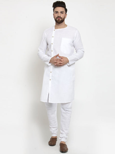 White Kurta and Pajama for men Full Sleeve Linen Kurta and White Churidar Pajama Set For Men