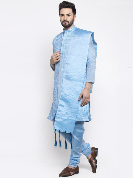 Men's Blue Embroidered Kurta Pajama, Jacket, and Scarf Set