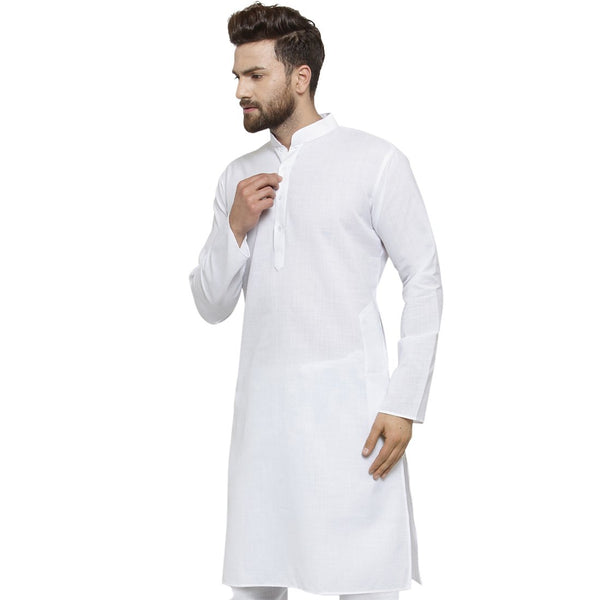 New Linen Plain Kurta In White By Treemoda