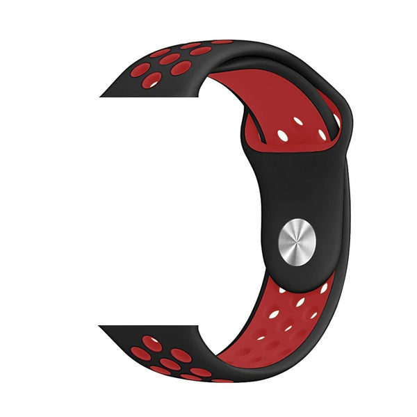 Silicone Sports Watch Strap for Apple Watch Series 5/4/3/2/1(Black & Red Air Hole)