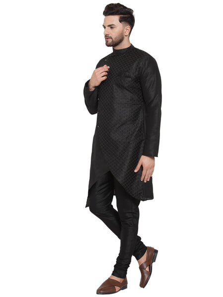 Designer Brocade Cotton Silk Black Kurta With Churidar Pajama Set
