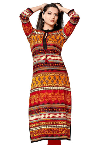 Women Printed Poly Crepe Straight Kurti (MultiRed)