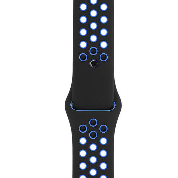 iWatch Soft Silicone Strap Compatible with Apple Watch (Black & Blue Air Hole)
