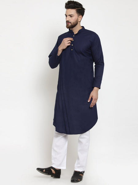 Designer Navy Blue Linen Kurta With Aligarh Pajama For Men By Treemoda