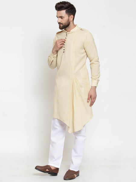 Beige Kurta and Pajama for men | Designer Full Sleeve Linen Kurta and Aligarh Pajama Set For Men