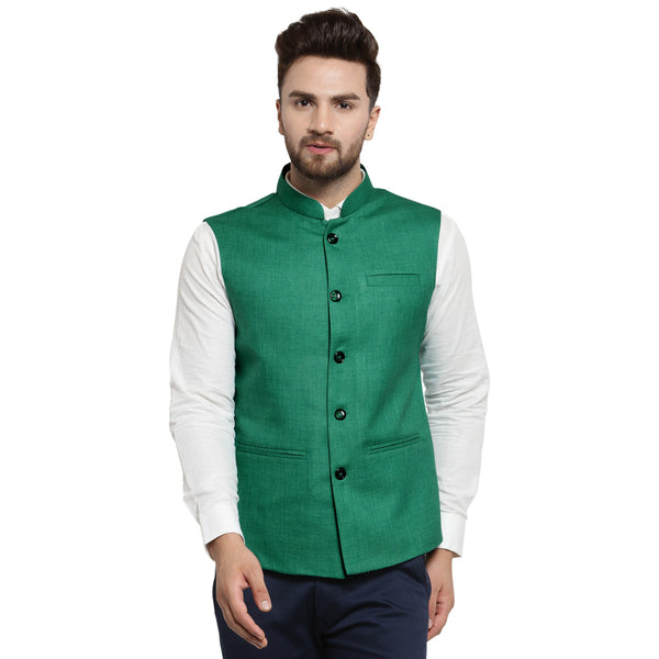 Treemoda Dark Green Nehru jacket For Men Stylish Latest Design Suitable for Ethnic Wear/Wedding Wear/ Formal Wear/Casual Wear