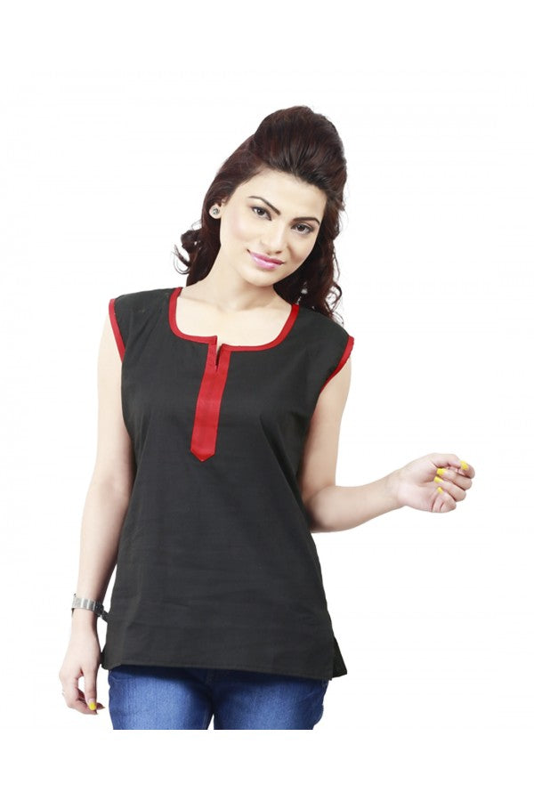 Women Solid Cotton Short Kurta  (Black)