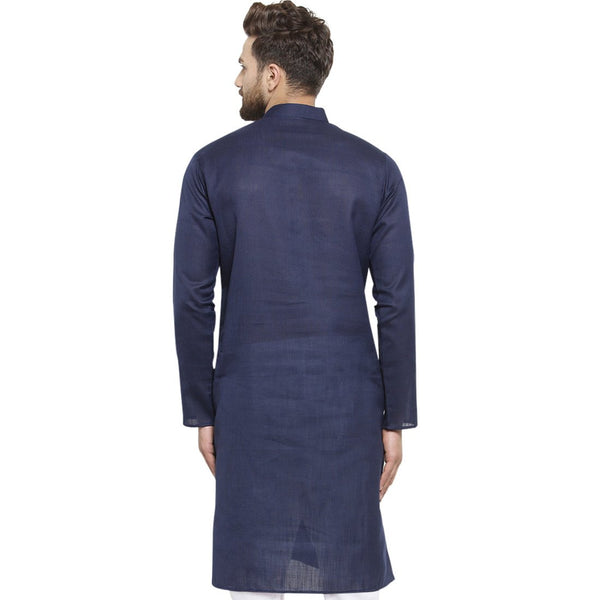 New Lenin Plain Kurta In Navy Blue By Treemoda