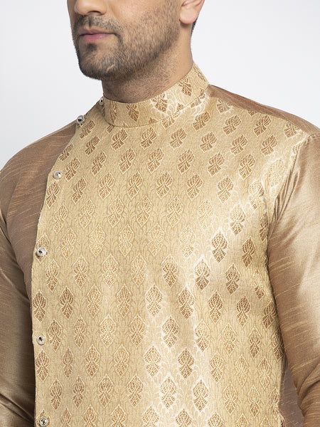Embellished Brocade Golden Kurta With Aligarh Pajama Set For Men By Treemoda