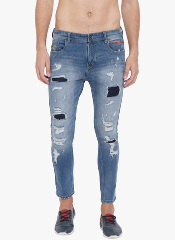 Men Blue Slim Fit stretchable Distressed Jeans