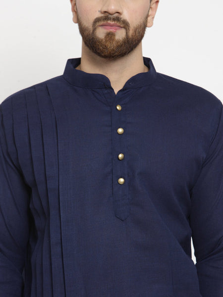 Designer Navy Blue Linen Kurta With Churidar Pajama For Men By Treemoda