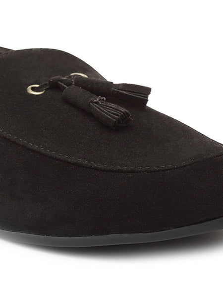 Treemoda Black Suede Tassel Loafers For Men