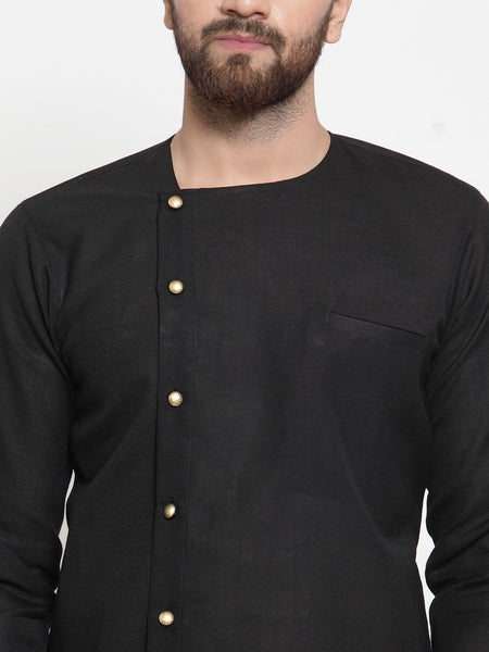 Black Kurta and Pajama for men | Designer Full Sleeve Linen Kurta and Aligarh Pajama Set For Men