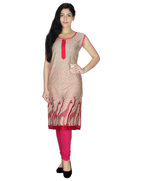 Women Printed Poly Crepe Straight Kurti (Pink)