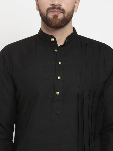 Black Kurta With Churidar Pajama Set in Linen For Men by Treemoda
