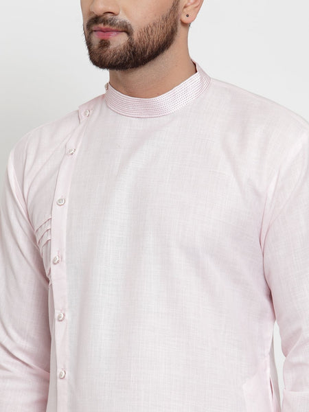 Designer Pink Kurta and Pajama for men | Designer Full Sleeve Liner Linen Kurta and Churidar Pajama Set For Men