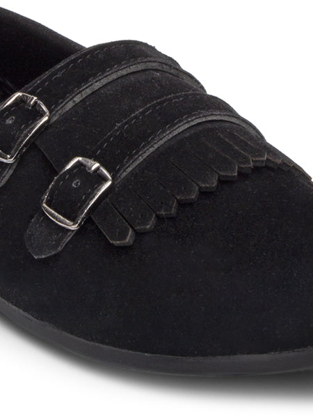 Treemoda Black Suede Double Strap Monk Shoes For Men