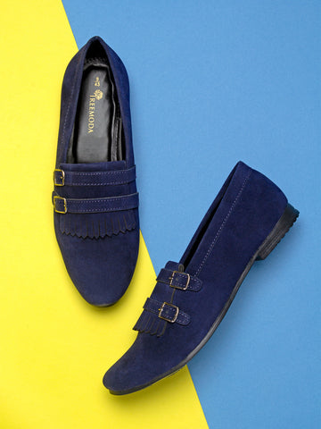 Treemoda Blue Suede Double Strap Monk Shoes For Men