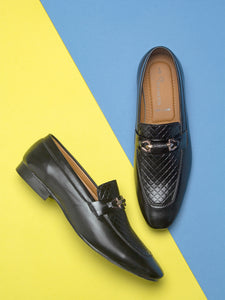 Treemoda Black Semi Formal Loafers For Men